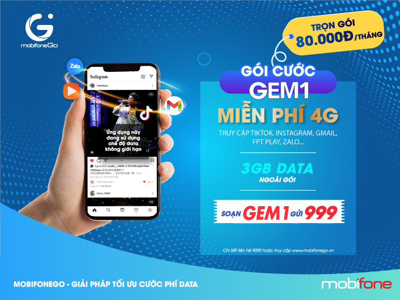 Gói GEM1 MobiFone miễn phí 4G dùng TikTok, Instagram...trong 30 ngày